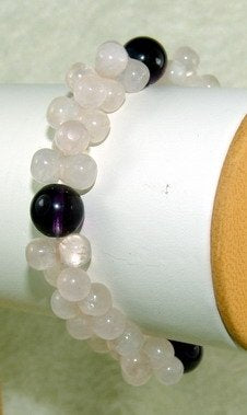 pink and purple crystal beads bracelet