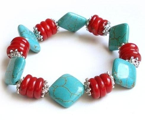 Special design turquoise & coral beads bracelet