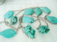 47'' super long big turquoise beads chain necklace