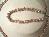 "Beautiful! 16"" 5-6mm purple cultured FW pearl necklace&7"" bracel"