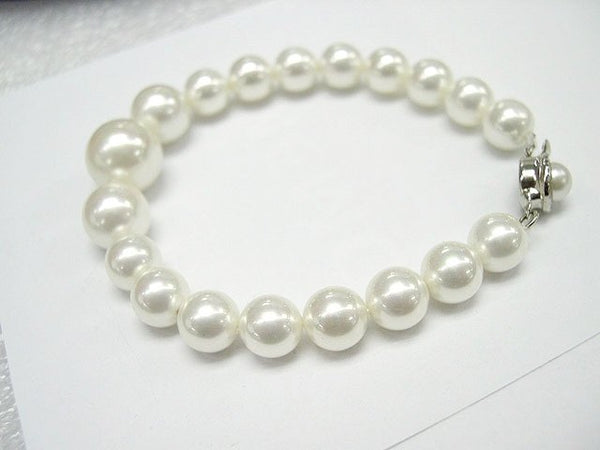 Excelent 10-14mm white south sea shell Pearl bracelet