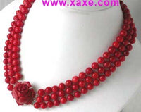 "17""-19"" 3-rows 8mm red coral&green jade clasp"
