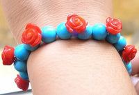 Red coral carved flower & turquoise bead bracelet