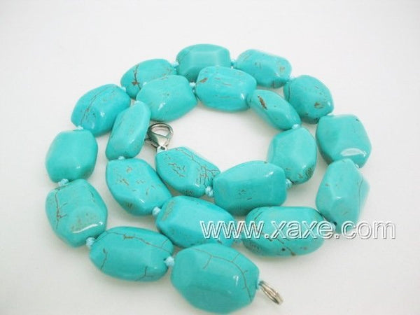 Cyan color turquoise bead necklace - small facet