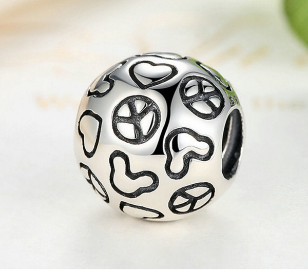 Sterling 925 silver peace ball charm silver bead fits Pandora charm and European bracelet
