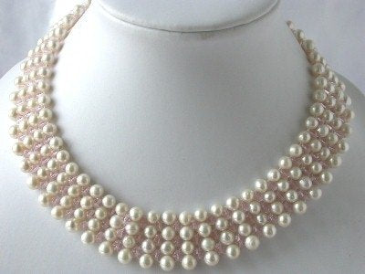 "16"" 6-7mm hand knotted white pearl crystal necklace"