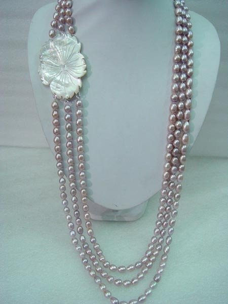 "21''-23"" 3-stands 5x6mm lavender pearl&shell clasp"