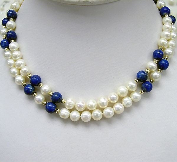 BAROQUE 2ROWS WHITE CULTURED PEARL GEMS NECKLACE 925S