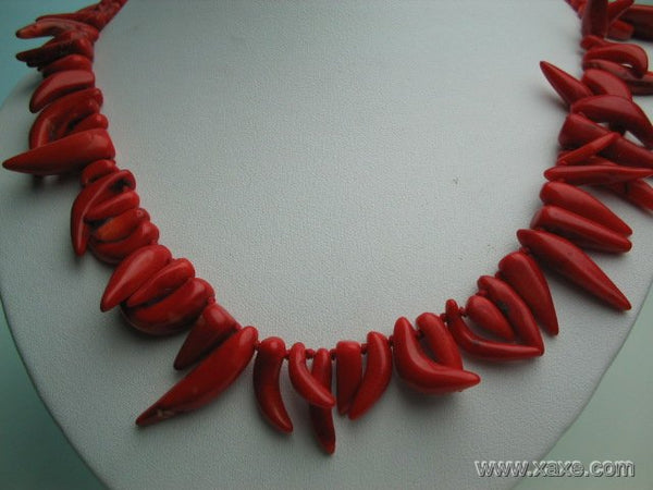 "18"" big red elephant tooth coral necklace"