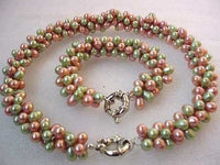 3-STR MAUVE GREEN FW PEARL NECKLACE BRACELET SET