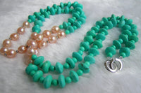 33'' pink pearl and turquoise necklace