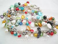 18'' multicolor pearl & gem necklace charms