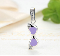 Sterling 925 silver purple sun glass bead fits Pandora charm and European bracelet