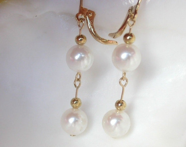8mm white saltwater pearls dangle earrings 14kgp