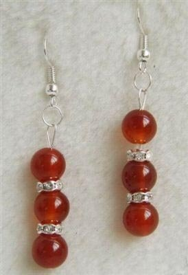 Red jade earring silver hook