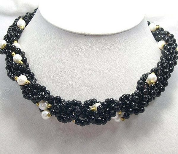 17'' 3-PCS Black Agate & Cultured Pearl Necklace