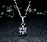 Sterling 925 silver charm violet floral bead pendant fits Pandora charm and European charm bracelet