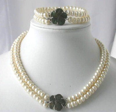 "18""/7.5"" 2-rows white pearl shell clasp necklace set"