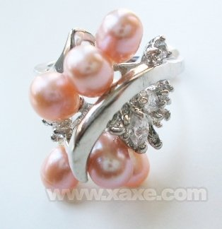 6pcs freshwater pearl ring with rhinestone - pink color