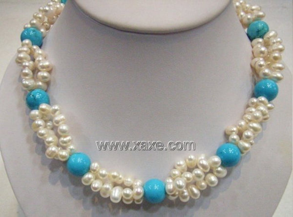 13MM Turquoise and 7MM Fresh Water Pearls Necklace