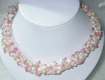 "17"" 3-rows white pearl pink crystal necklace"