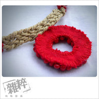 "18"" red wooden beads with wax string necklace"