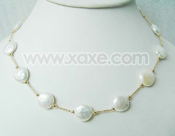 "17.5"" 12-13mm white coin pearl necklace gold plated chain"