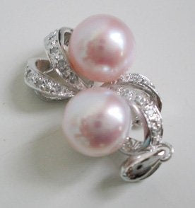 Pearl pendant on sterling silver bail - 8.5mm Soft Pink