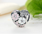Sterling 925 silver sukura heart bead fits Pandora charm and European bracelet