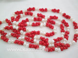 45'' white pearl & red coral peanut beads long necklace