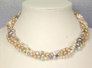 "Beautiful! 16"" 4rows colorful cultured FW pearl necklace"