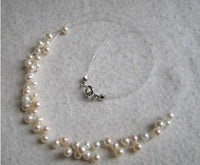 6 rows bridal necklace - white freshwater pearl