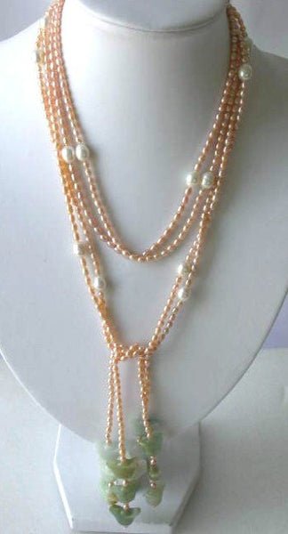 "50"" longer 2-rows pink FW pearl green jade necklace"