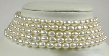 5 Rows 13'' white Rice FW Pearl Choker Silver