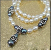 "18.5"" 6-7mm black white pearl necklace with pendant"