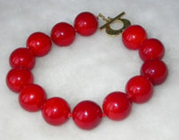 Beauty 7.5'' 14mm red Seashell pearl silver clasp bracelet