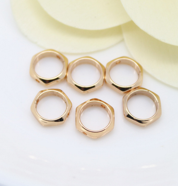 10 pcs 24k gold plated hexagon silhouette brass pendant brass caps brass bead