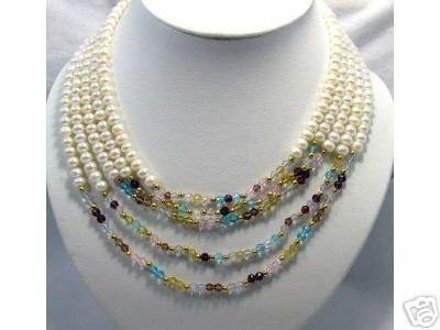 RARE 5row White Genuine Cultured Pearl Crystal Necklace
