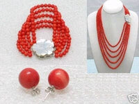 5 strands red coral necklace bracelet earring set