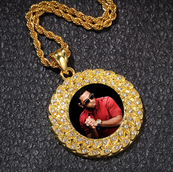 Hip Hop Photo Necklace Pendant Personalized Photo Necklace for Men Initials Necklace Gold Rhinestone Necklace Custom Pet Photo Necklace