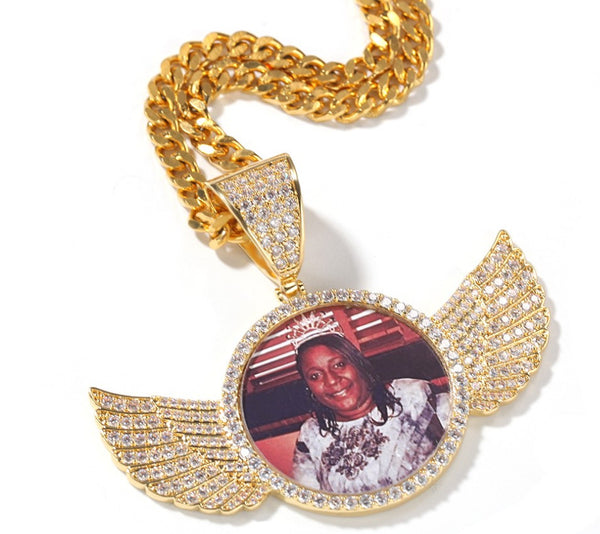 Hip Hop Photo Necklace Pendant Personalized Photo Necklace for Men Customize Necklace Gold Rhinestone Necklace Custom Pet Photo Necklace