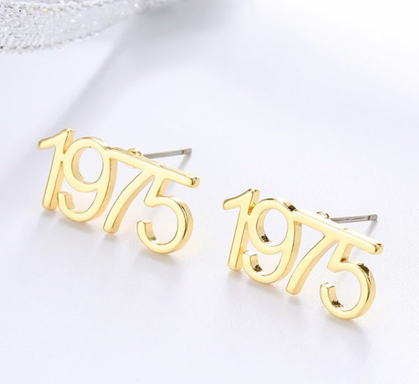 Customize Year Earring Gold Personalized Birth Year Earring Old English Birth Year Earring Gold Number Earring Layering Gold Earring