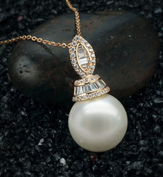 Real gold 14k solid gold pearl pearl pendant setting shining ins CZ cubic zirconia, Yellow gold