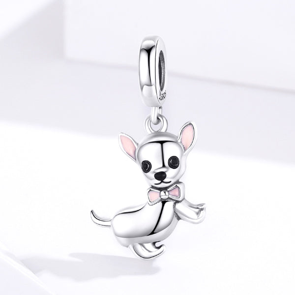Sterling 925 silver charm the pinky chiwawa bead pendant fits Pandora charm and European charm bracelet