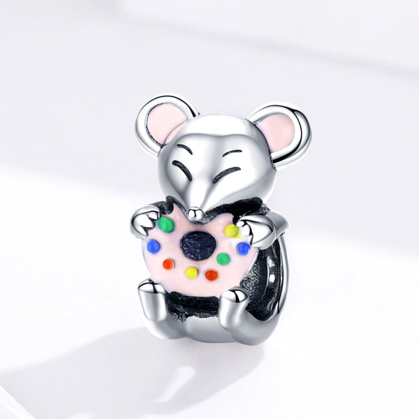 Sterling 925 silver charm the donut rat bead pendant fits Pandora charm and European charm bracelet