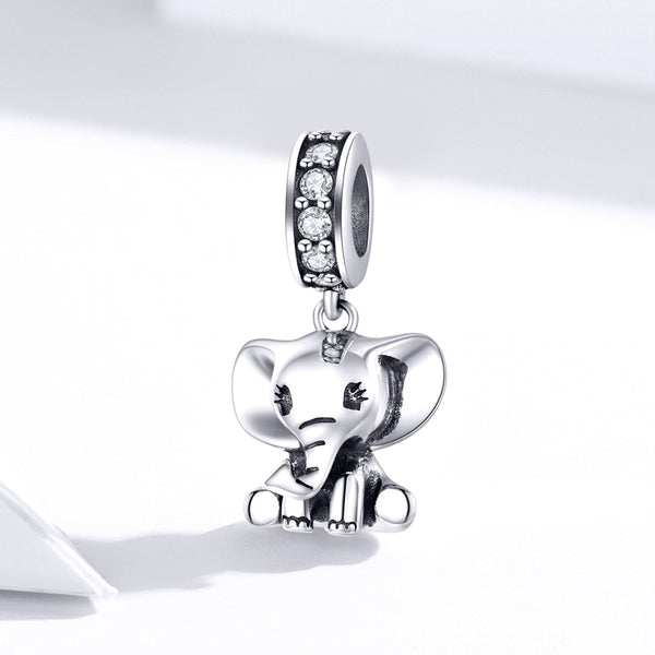 Sterling 925 silver charm elephant girl pendant fits Pandora charm and European charm bracelet