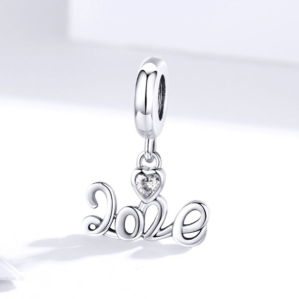 Sterling 925 silver charm the LOVE symbol bead pendant fits Pandora charm and European charm bracelet
