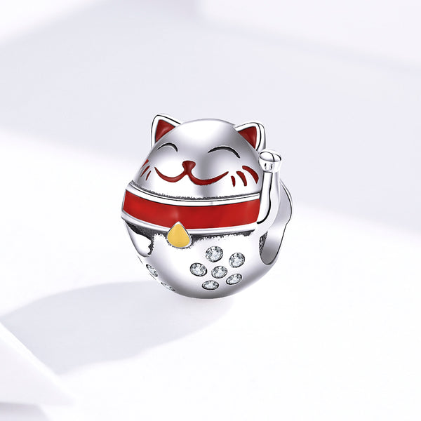 Sterling 925 silver charm the lucky cat bead pendant fits Pandora charm and European charm bracelet