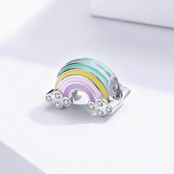 Sterling 925 silver charm the rainbow bead pendant fits Pandora charm and European charm bracelet