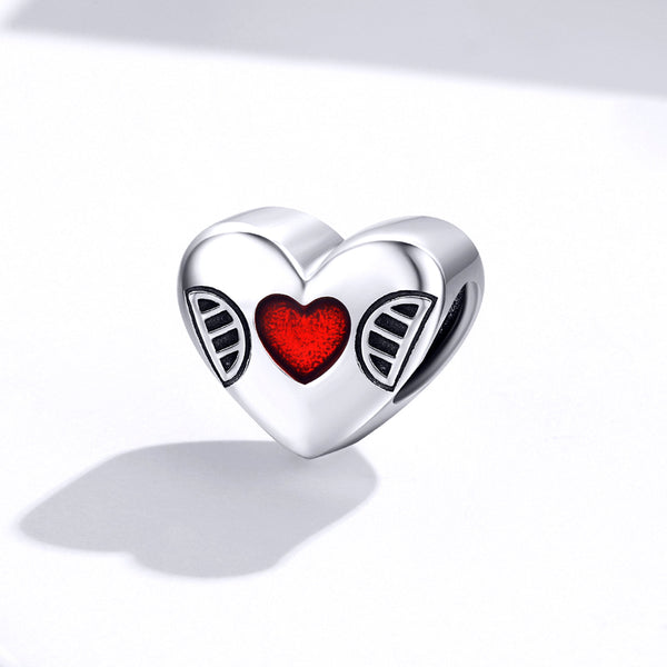 Sterling 925 silver charm the red heart bead pendant fits Pandora charm and European charm bracelet